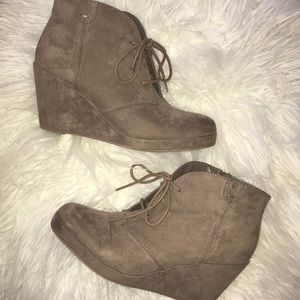 suede ankle bootie wedges